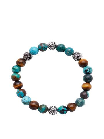 BRACELET WITH TURQUISE AND BROWN TIGER EYE FROM NIALAYA