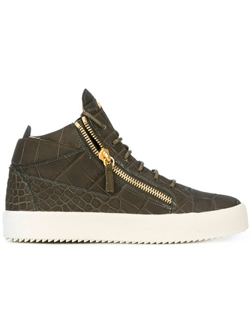 Khaki green midhigh croc sneakers from Giuseppe Zanotti