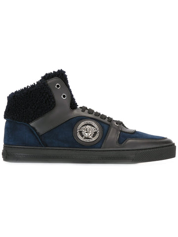 Blue suede sneaker with fur