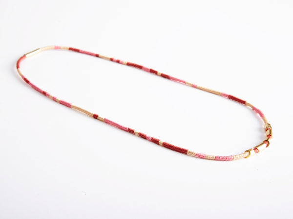 Pink / Beige / Burgundy Totem Wrapper Necklace and Bracelet