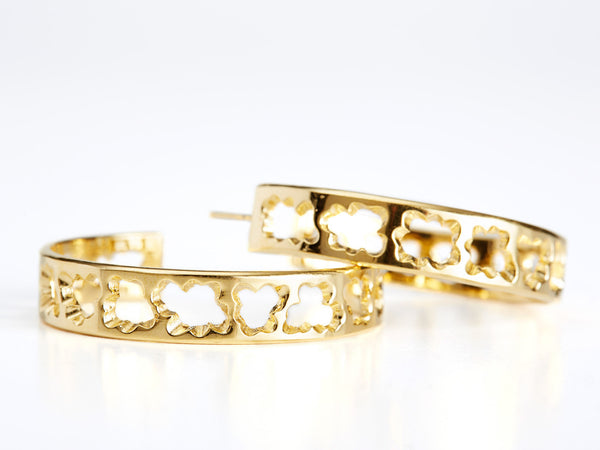Relic Yellow Gold Hoop Earrings