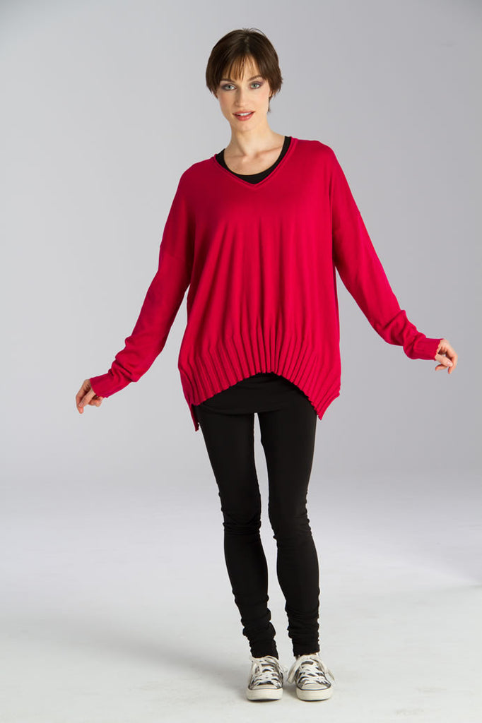 V-Ribbed Bottom Knit Sweater