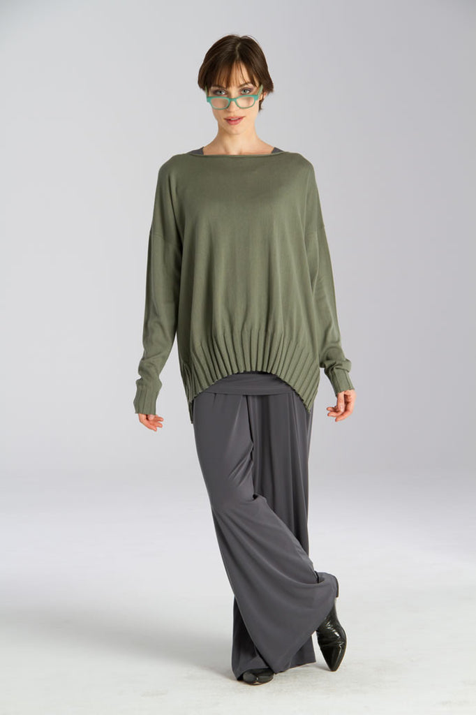 Boat Neck, Ribbed Bottom Knit