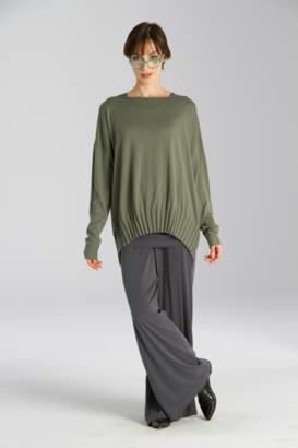 Boat Neck, Ribbed Bottom Sweater