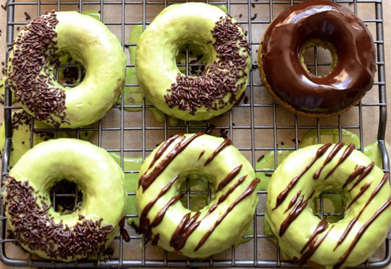 Baked Apple Matcha Donuts