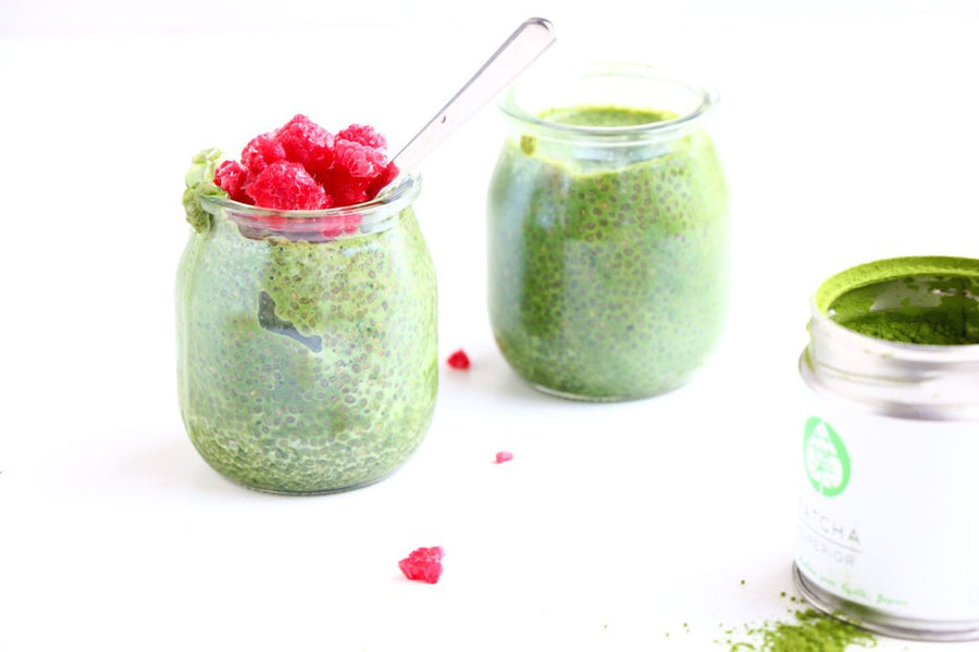 Baking-Ginger's Matcha and Raspberry Chia Pudding