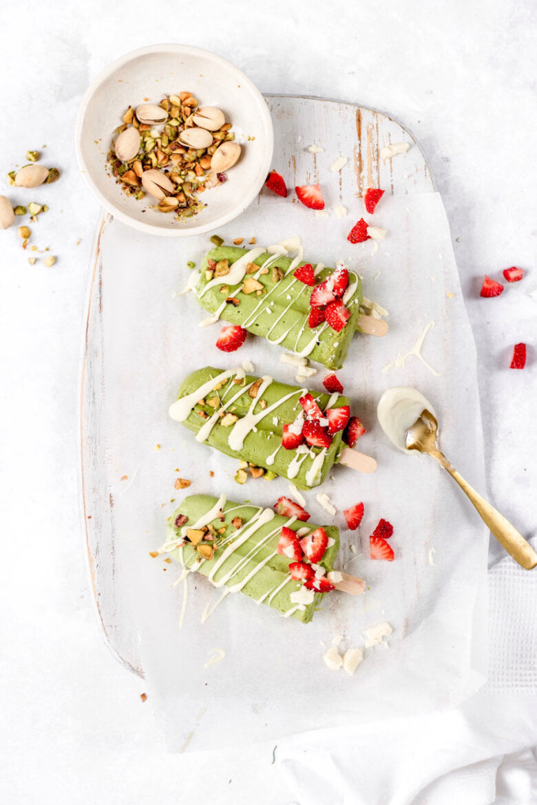 The Good Roots Dairy Free Matcha Popsicles