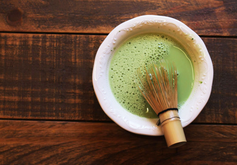 Whisking Coconut and Honey Matcha Green Tea Latte