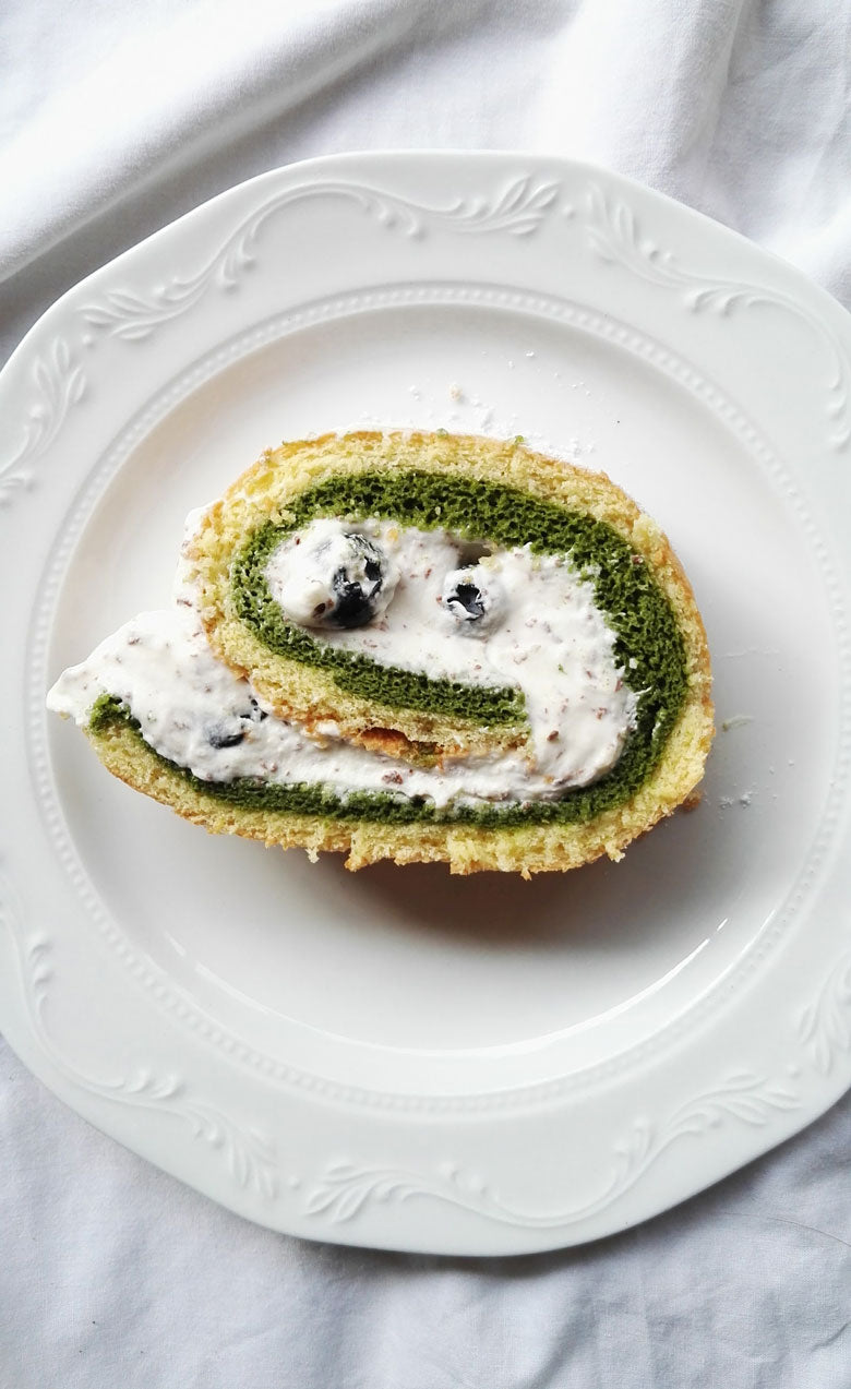 Blueberry Matcha Swiss Roll Cake
