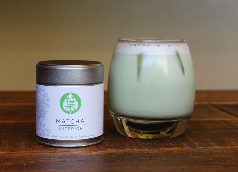 Just Matcha Tin and Iced Matcha Green Tea Latte
