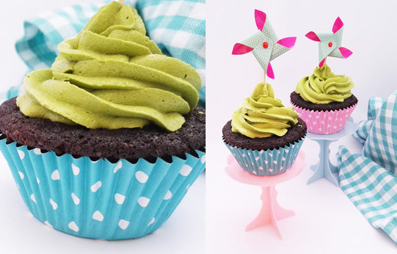 Matcha Swiss Meringue Buttercream Frosting with Chocolate Cupcakes