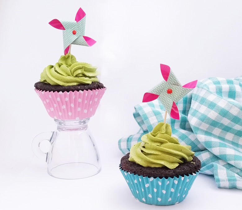 Chocolate Cupcakes with Swiss Meringue Matcha Buttercream Frosting