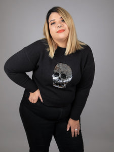 Sequin Skull Sweater with SIGNED Skeleton Print!