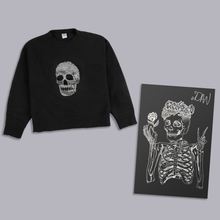 Load image into Gallery viewer, Sequin Skull Sweater with SIGNED Skeleton Print!