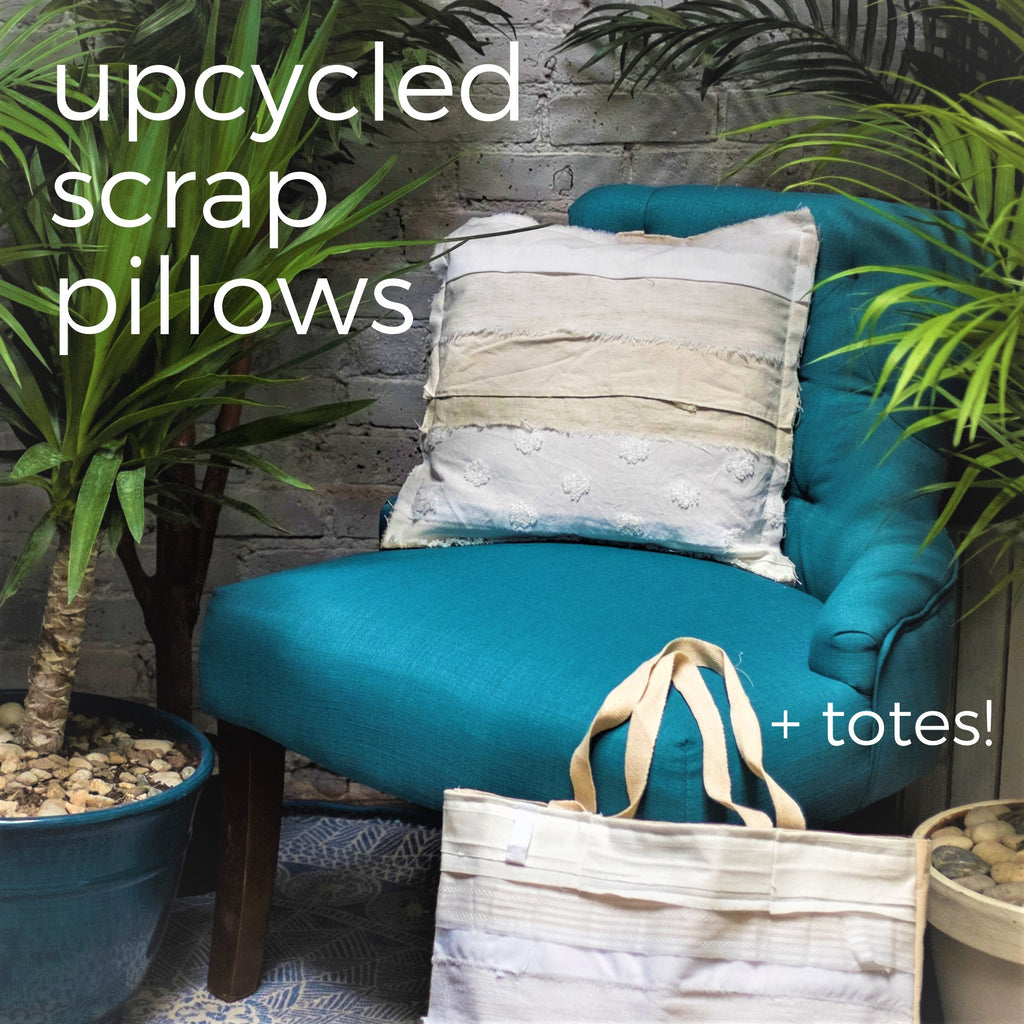 Design  |  UpCycled Scrap Pillows + Totes