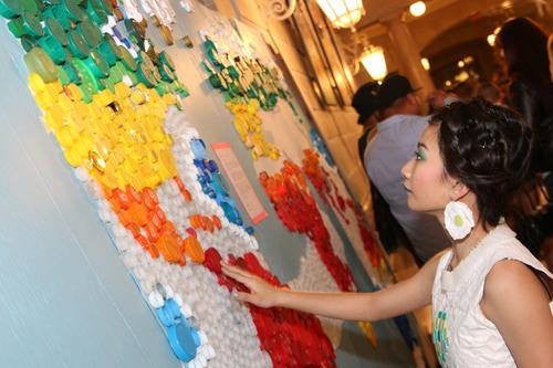 World Map (in progress) at 4th Annual Trashion Fashion Show - photographer unknown