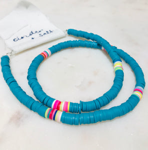 Resin Beaded Surf Necklace- Turquoise