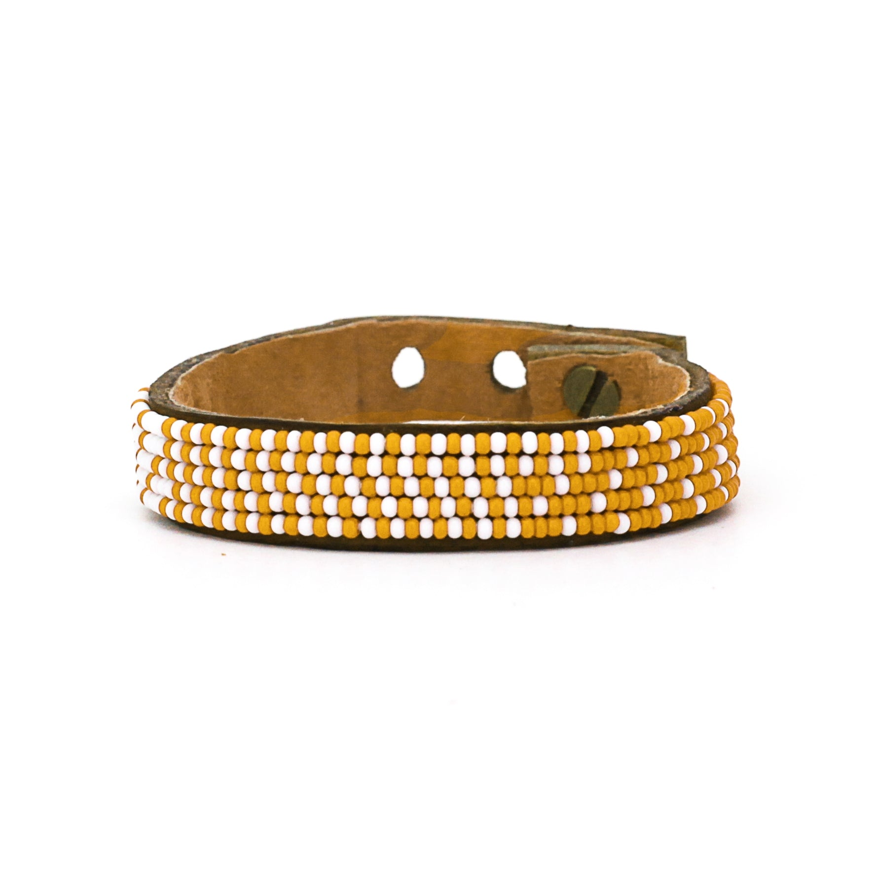 Beaded Leather Cuff - Orange and White Ombre