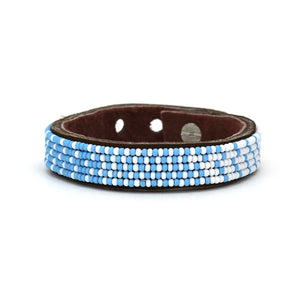 Beaded Leather Cuff - Light Blue and White Ombre