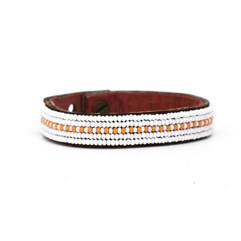 Beaded Leather Cuff - Orange Dashes