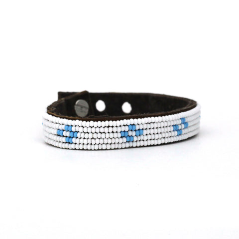 Beaded Leather Cuff - Light Blue Diamonds