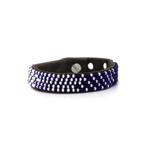 Beaded Leather Cuff - Navy & White Ombre