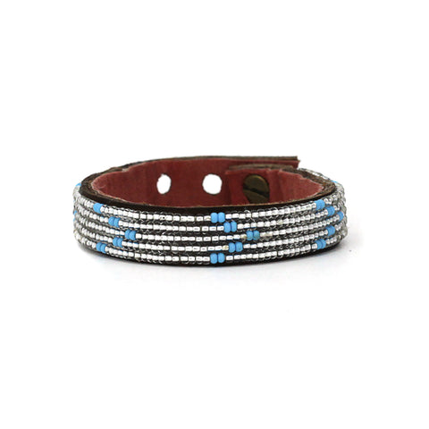 Beaded Leather Cuff - Summer Chevron