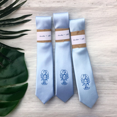 Lobster Skinny Tie - Pale Blue
