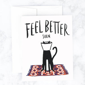 Feel Better Cat Cone Greeting Card