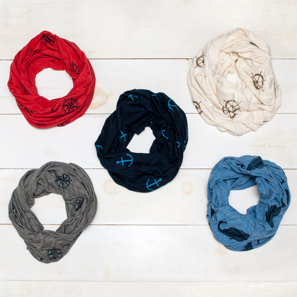 Compass Infinity Scarf - Grey