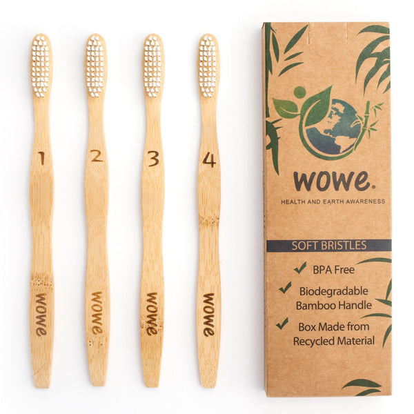 Bamboo Toothbrushes 4pk - Adult