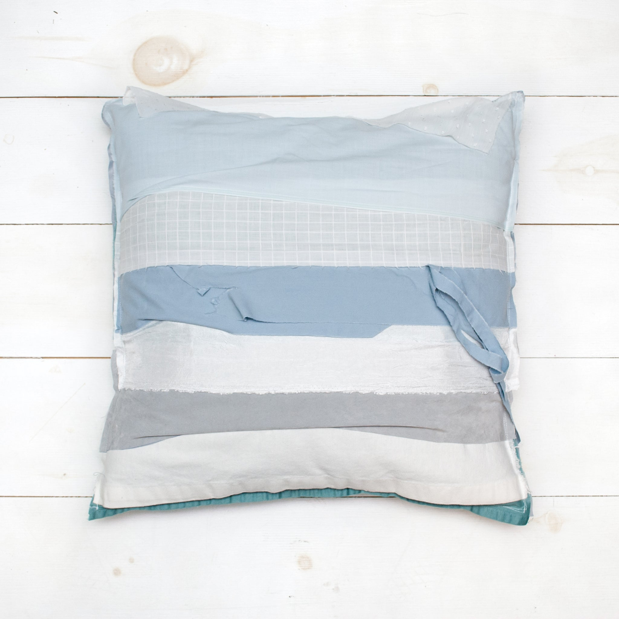 Upcycled Scrap Fabric Pillow - 20x20 Blue