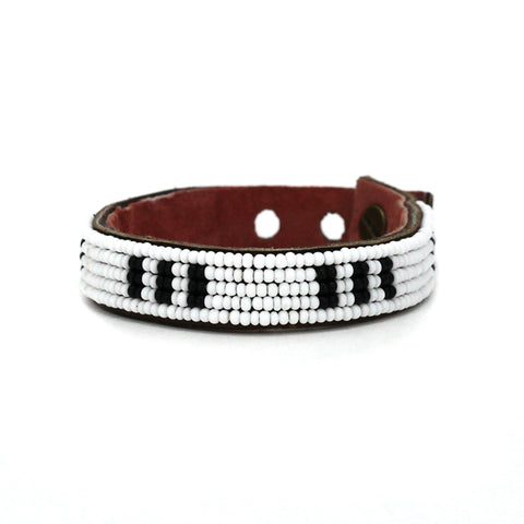 Beaded Leather Cuff - Black and White Stitches