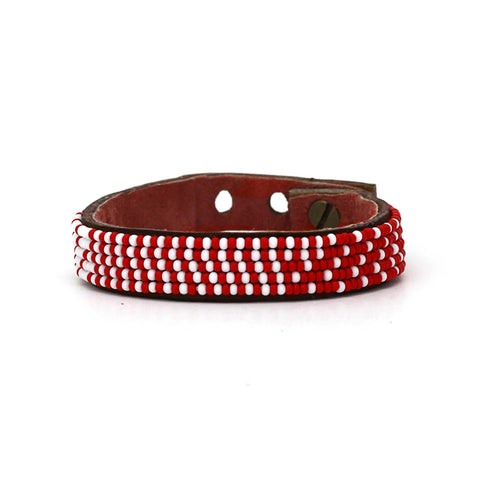Beaded Leather Cuff - Red and White Ombre
