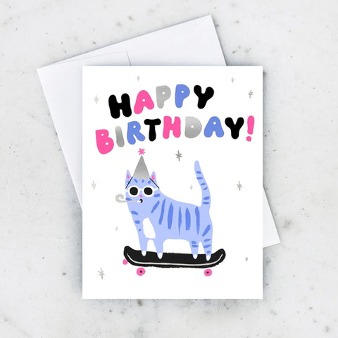 Skater Cat Greeting Card