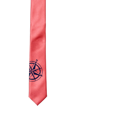 Compass Skinny Tie - Coral