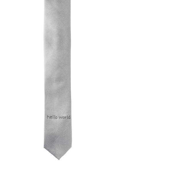 Hello World Skinny Tie - Grey
