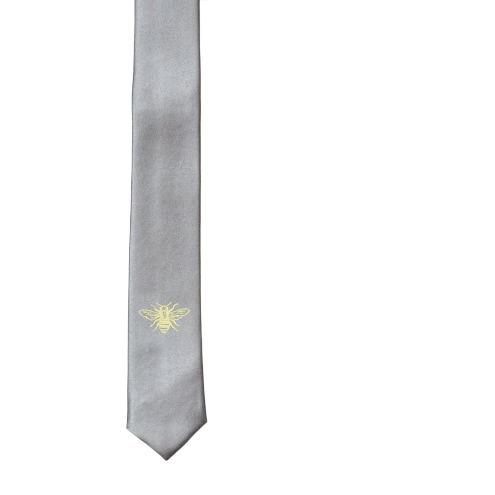 Honey Bee Skinny Tie - Silver
