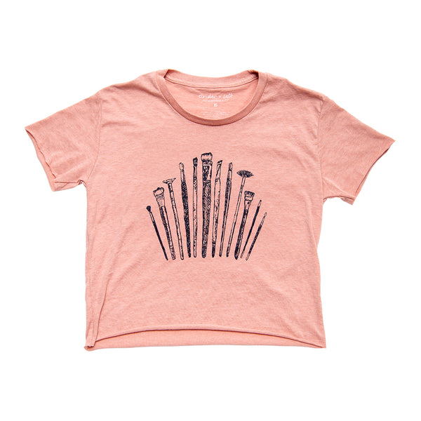 Paintbrushes Ladies Crop Tee