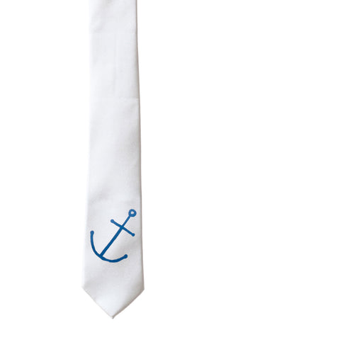 Anchor Skinny Tie - Pearl