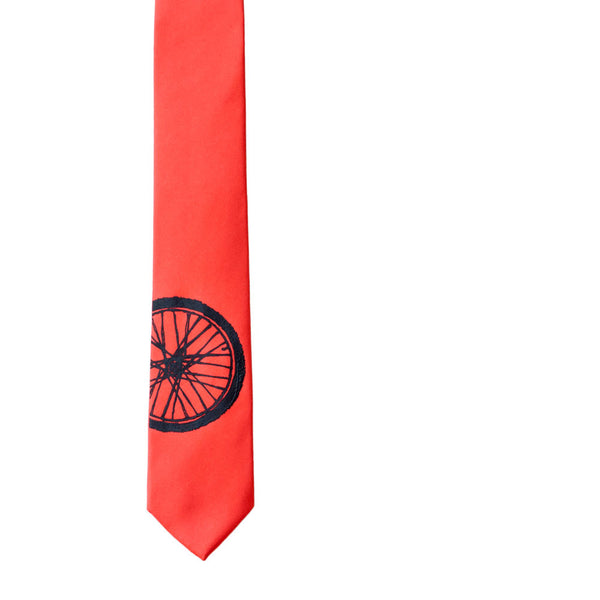 Bike Tire Skinny Tie - Poppy
