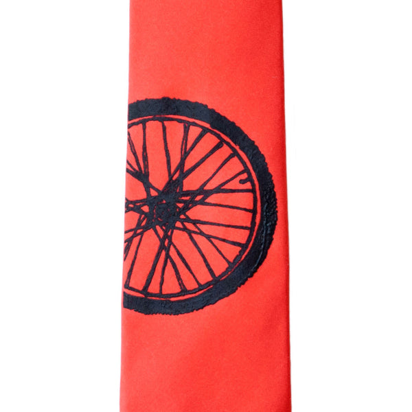 Bike Tire Skinny Tie - Red