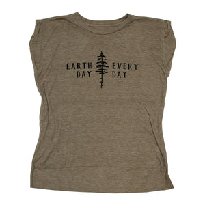 Earth Day Every Day Ladies Muscle Tee