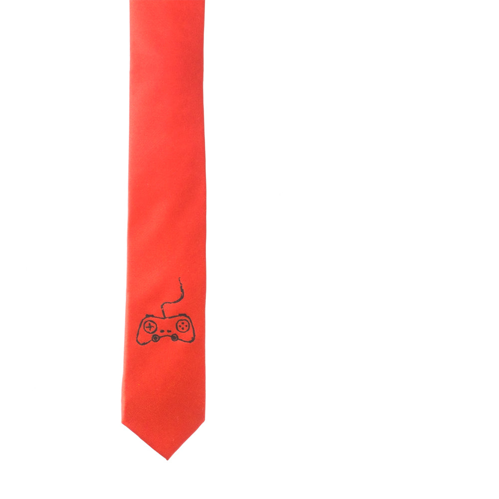 Game Controller Skinny Tie - Red
