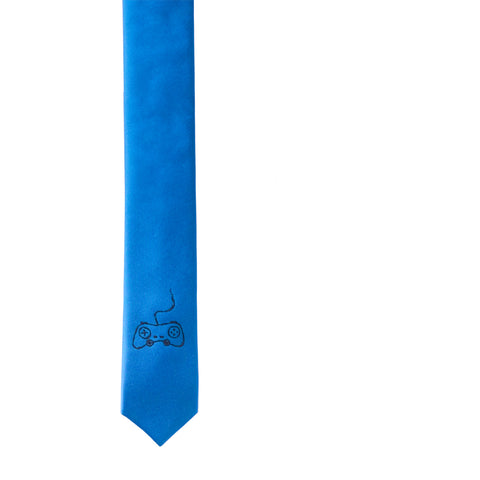 Game Controller Skinny Tie - Azure