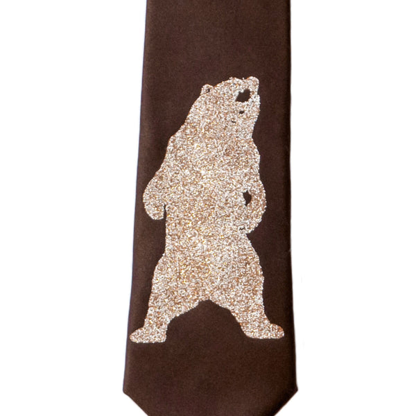 Grizzly Bear Skinny Tie - Chestnut Brown