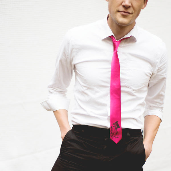 Kitten Skinny Tie - Bright Fuschia
