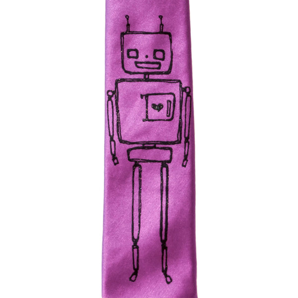 Robot Skinny Tie - Orchid