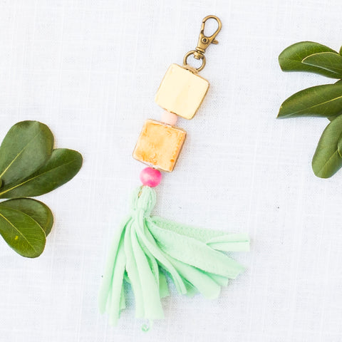 Ceramic Bead & Tassel Keychains - Tropical Hues