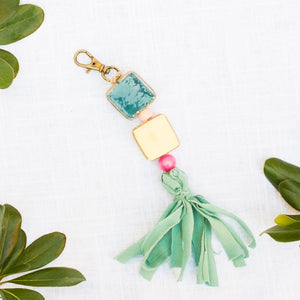 Ceramic Bead & Tassel Keychains - West Coast Hues